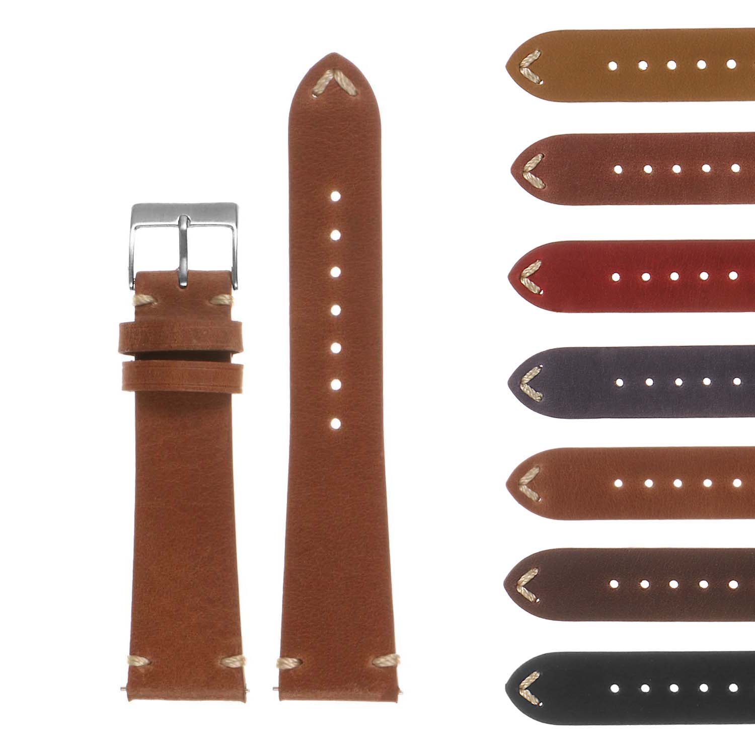 TRIBUTE II Hand-Stitched Classic Leather Watch Band
