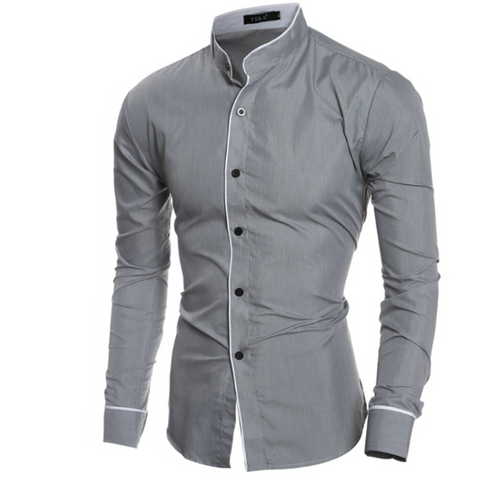 Digiwear - Men's Sleek Mandarin Collar Dress Shirt - Carbon Fiber Gear - Digicarbon