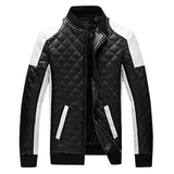 Digiwear - Mens Tuffed Leather Pattern Leather Jacket - Carbon Fiber Gear - Digicarbon