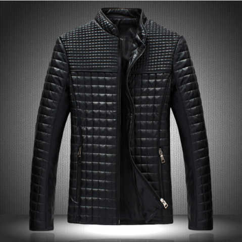 Digiwear - Men's Stylish Tuffed Studded Leather Jacket - Carbon Fiber Gear - Digicarbon