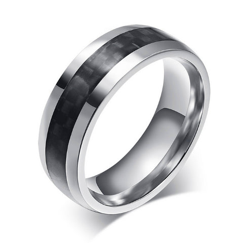 Digicarbon - Carbon Fiber Mens Ring Titanium Band - Carbon Fiber Gear - Digicarbon