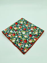 Pocket Square: Green floral with brown trim