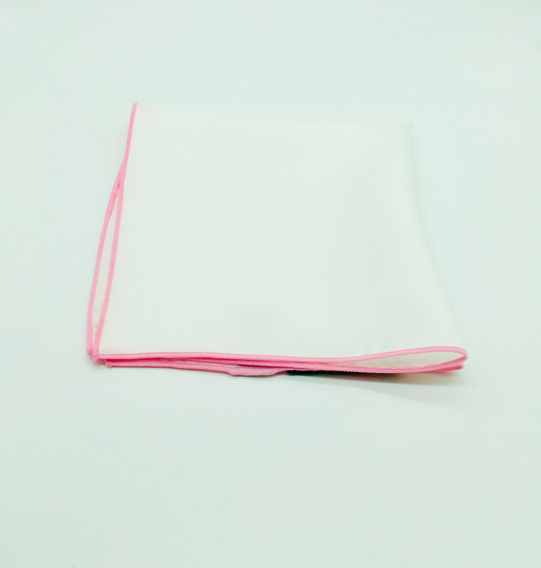 Pocket Square: Silk white square with pink trim