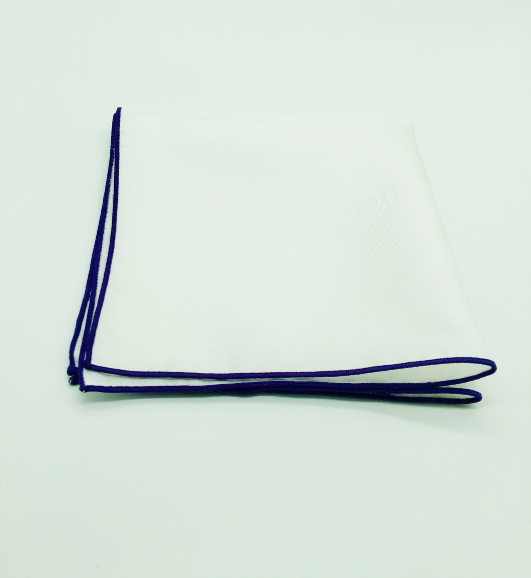Pocket Square: Silk white square with purple trim