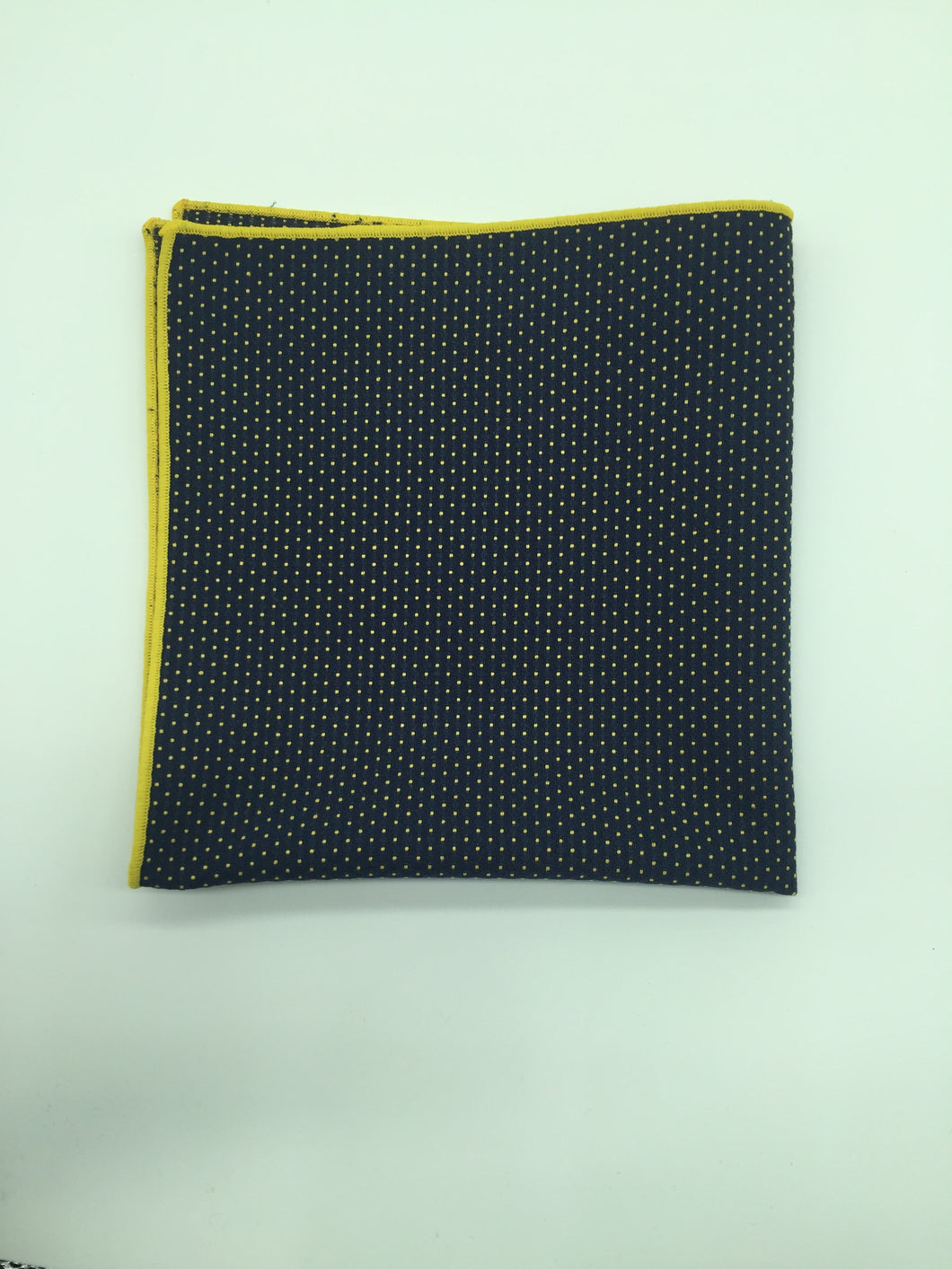 Pocket Square: Navy blue with yellow trim
