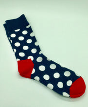 Navy with white polka dots