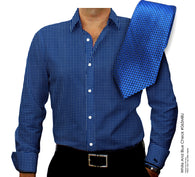 Fine Counts Cotton Royal Blue Custom Monogrammed Dress Shirt with Tie Set(#065MBLU)