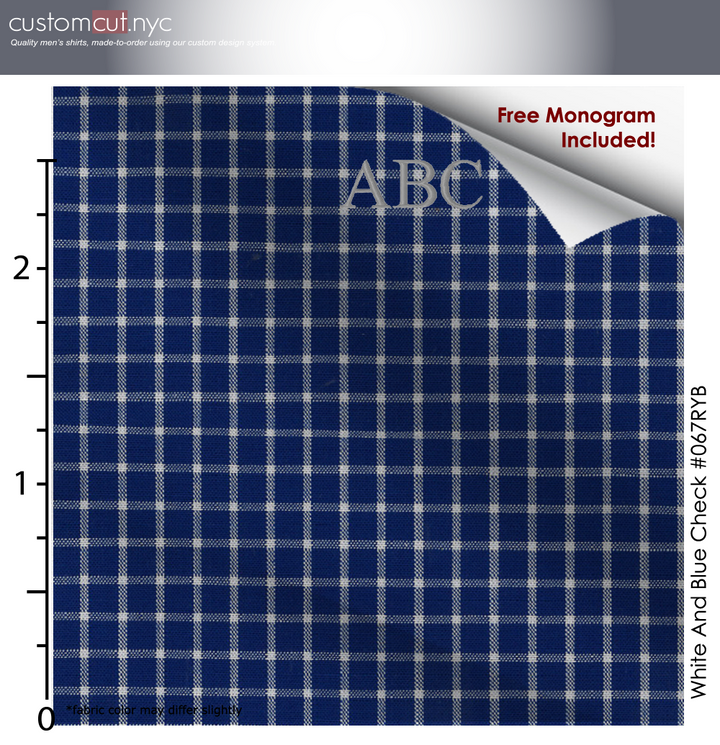 Super Soft Rich Blue Square Fine Counts Cotton Custom Monogrammed Dress Shirt (#067RYB)