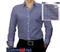 Super Soft Med Check Blue Purple White  Fine Counts Cotton Custom Monogrammed Dress Shirt (#094BPR)