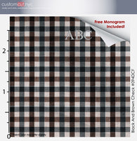 Super Soft Med Check Brown Black Fine Counts Cotton Custom Monogrammed Dress Shirt (#094DCF)
