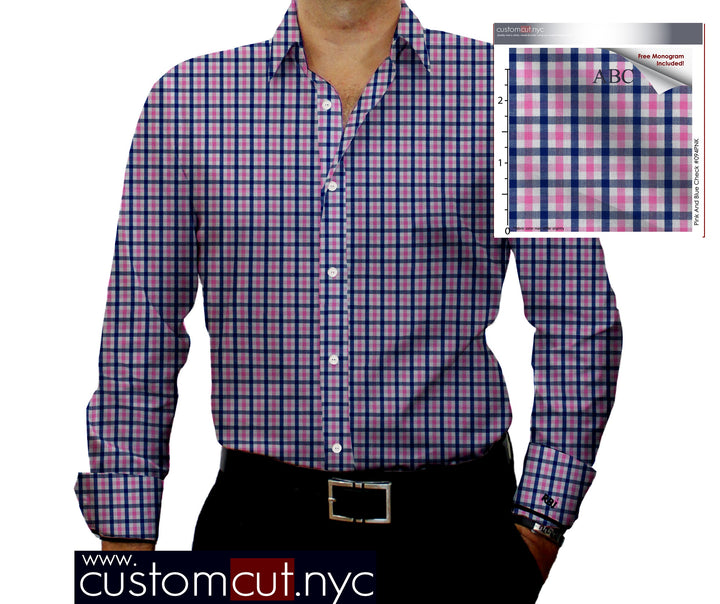 Super Soft Med Check Pink Fine Counts Cotton Custom Monogrammed Dress Shirt (#094PNK)