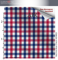 Super Soft Red Check Fine Counts Cotton Custom Monogrammed Dress Shirt (#094RED)