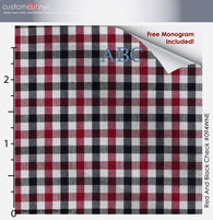 Super Soft Med Check Wine Fine Counts Cotton Custom Monogrammed Dress Shirt (#094WNE)