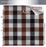 Radciff Plaid  Fine Counts Cotton Deep Brown Custom Monogrammed Dress Shirt (#095DCF)
