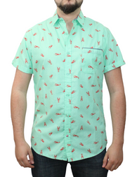 Short Sleeve Printed Button Shirt cc32