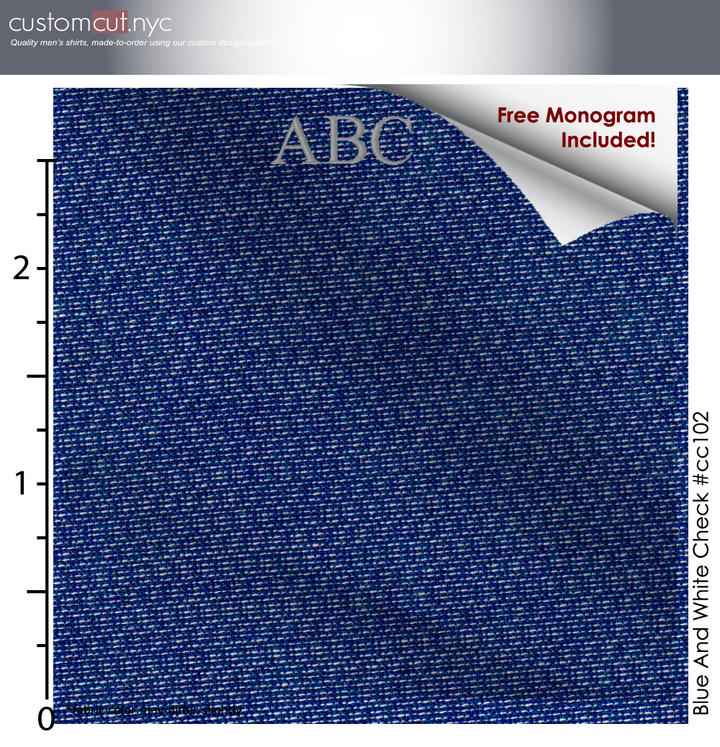 Casual Blues #cc102, 100% Cotton, Men's Monogrammed Custom Tailored Shirt gs