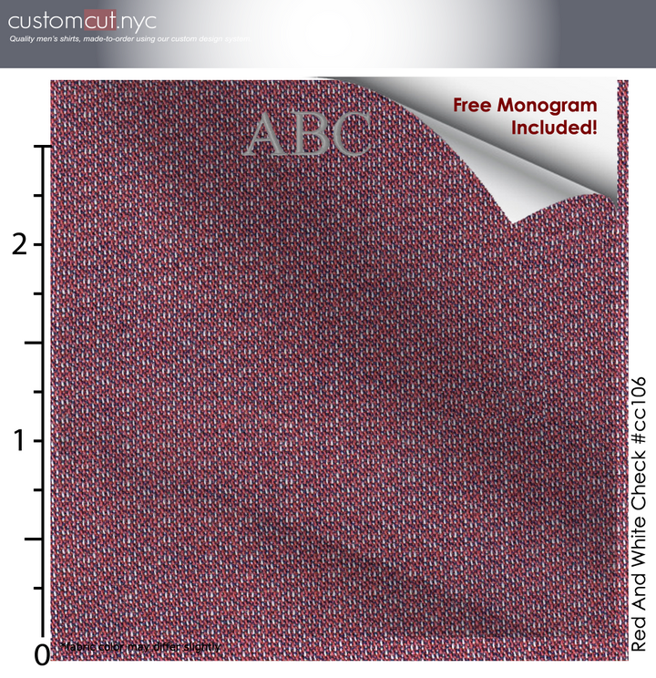 Deep Red Texture #cc106, 100% Cotton, Men's Monogrammed Custom Tailored Shirt gs
