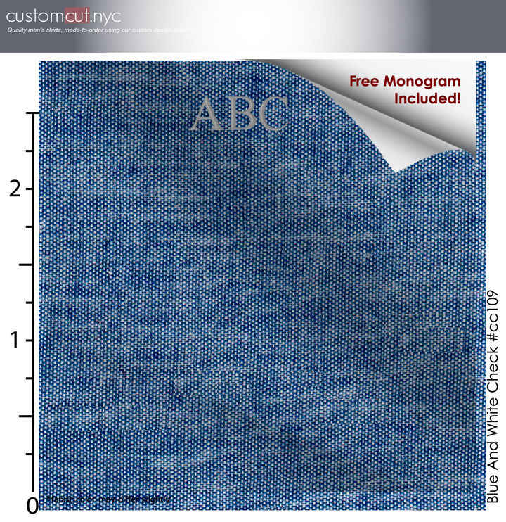 Light Denim Shirt #cc109, 100% Cotton, Men's Monogrammed Custom Tailored Shirt gs