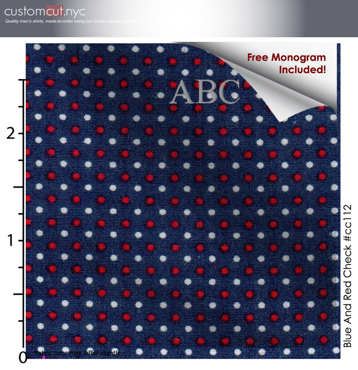 Navy Red White Dot Print #cc112, 100% Cotton, Men's Monogrammed Custom Tailored Shirt gs