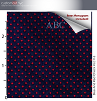 Navy Red Mini Dots #cc116, 100% Cotton, Men's Monogrammed Custom Tailored Shirt