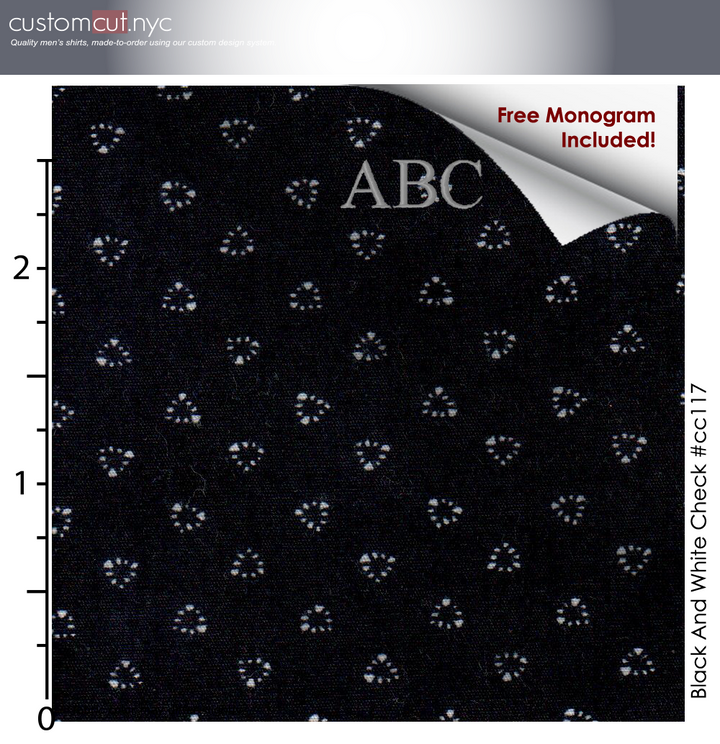 Black Mini #cc117, 100% Cotton, Men's Monogrammed Custom Tailored Shirt gs