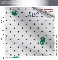 White Cactus  #cc123, 100% Cotton, Men's Monogrammed Custom Tailored Shirt