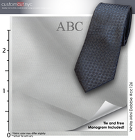 Tie Set, Stretch Easy Care White Texture #cc126, Men's Custom Dress Shirt.