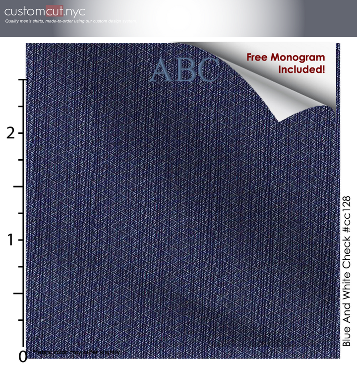 Copy of Navy Blue Net, 100% Cotton, Men's Monogrammed Custom Tailored Shirt (#CC128)