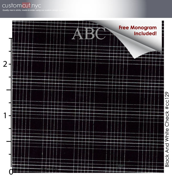Copy of Black Check 100% Cotton, Men's Monogrammed Custom Tailored Dress Shirt (#CC129)
