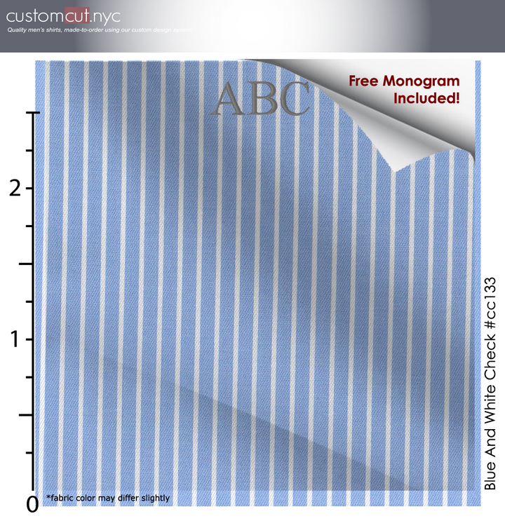 High Counts Sateen Finish  Light Blue Stripe Monogrammed Custom Tailored Shirt(CC133)
