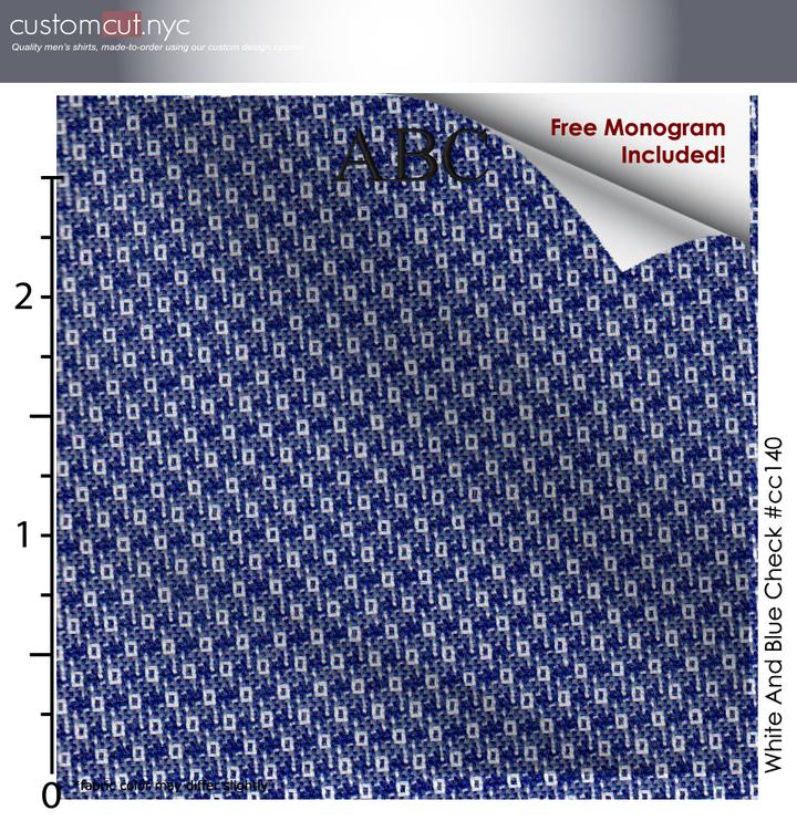 Blue White Tex Businesses #cc140, 100% Cotton Men's Monogrammed Custom Dress Shirt.