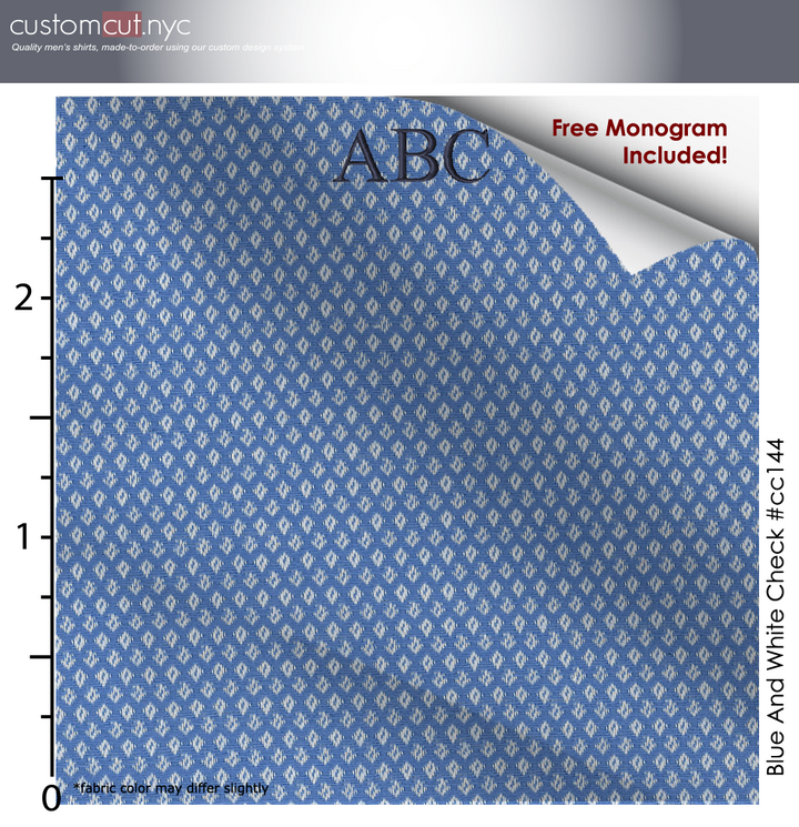 Fine Count Sateen Finish Pale Blue Diamond Texture #cc145, Men's Custom Dress Shirt