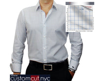 White and Lt. Blue Check #cc24, 100% Cotton Men's Monogrammed Custom Dress Shirt.