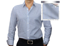 White and Lt. Blue Check #cc25, 100% Cotton Men's Monogrammed Custom Dress Shirt.