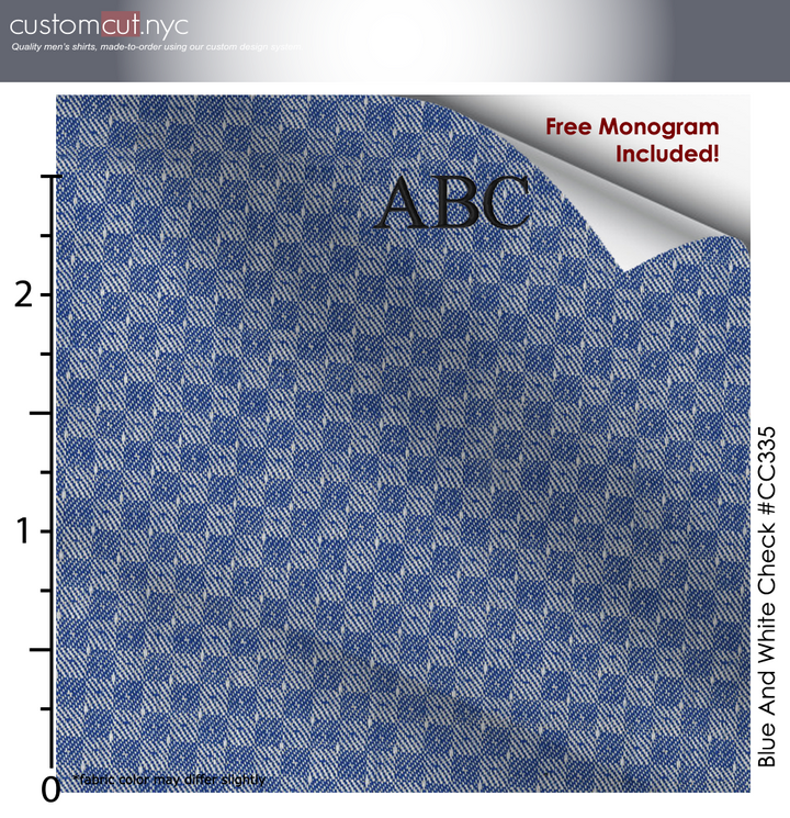 Dressy Blue Fine Cotton Custom Monogrammed Dress Shirt (#cc335)