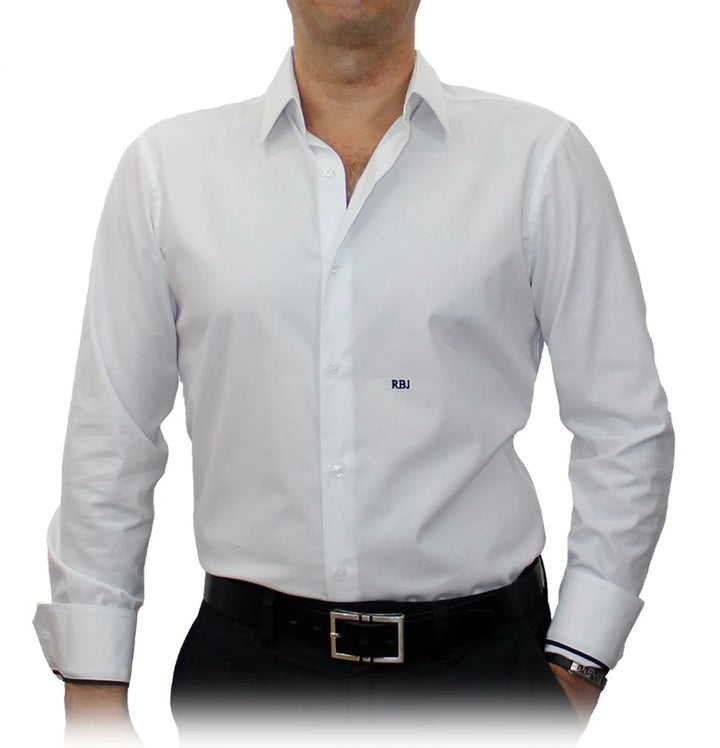 Big Size - Easy White Solid Stretch Cotton Blend #cc68, Monogrammed Men's Custom Tailored Dress Shirt - XXL, XXXL gs