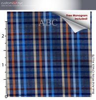 Blue Multi Color Sagamore Plaid #cc78, 100% Cotton, Men's Monogrammed Custom Tailored Dress Shirt