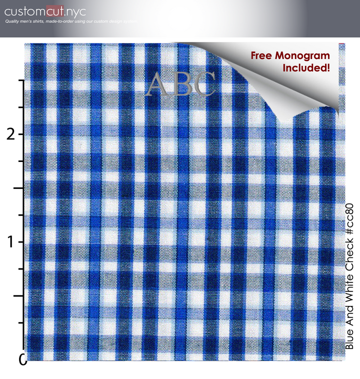 Blue White Hamilton Plaid #cc80, 100% Cotton, Men's Monogrammed Custom Tailored Dress Shirt