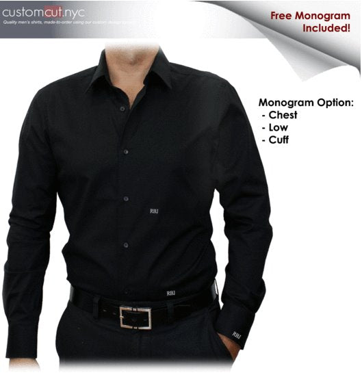 Black Solid Stretch Cotton #cc37, 97%Cotton3%Spandex, Men's Monogrammed Custom Tailored Dress Shirt gs