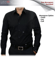 Black Solid Stretch Cotton #cc37, 97%Cotton3%Spandex, Men's Monogrammed Custom Tailored Dress Shirt