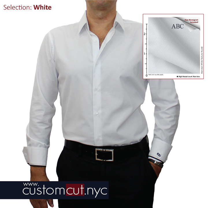 White Non Iron Custom Dress Shirt - 100's Count Cavalry Twill (Item cc45) gs