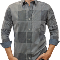 Black White Texture Grid #cc100, 100% Cotton, Men's Monogrammed Custom Tailored Dress Shirt