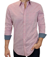 Pink Sharks on Mini Oxford #cc108, 100% Cotton, Men's Monogrammed Custom Tailored Shirt