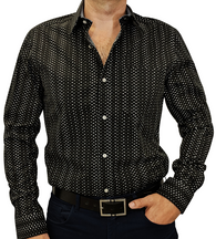 Black Grey #cc119, 100% Cotton, Men's Monogrammed Custom Tailored Shirt