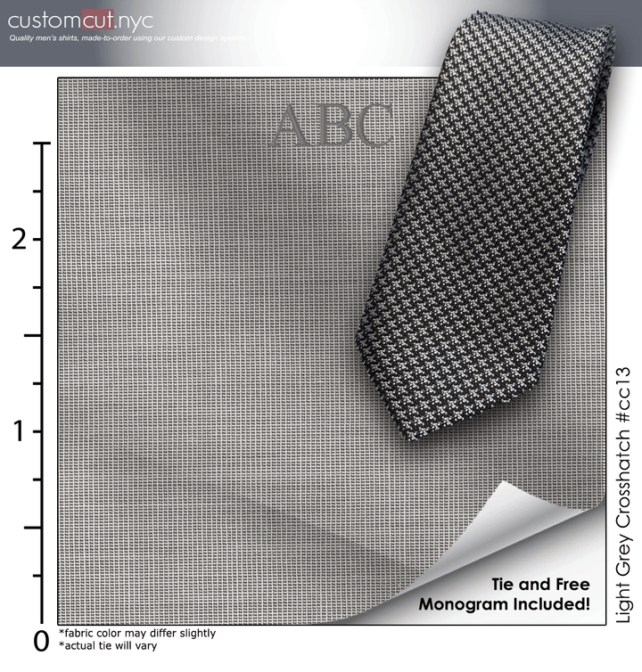 Tie Set, Light Grey Crosshatch #cc13, 100% Cotton Men's Monogrammed Custom Dress Shirt. gs