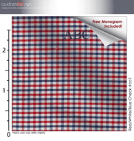 Red/White/Blue Check #cc1, 100% Cotton, Men's Monogrammed Custom Tailored Dress Shirt