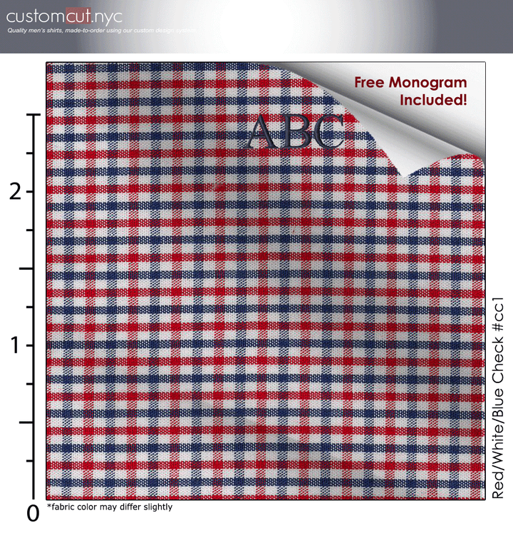 Red/White/Blue Check #cc1, 100% Cotton, Men's Monogrammed Custom Tailored Dress Shirt gs