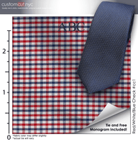 Tie Set, Red/White/Blue Check #cc1, 100% Cotton Men's Monogrammed Custom Dress Shirt.