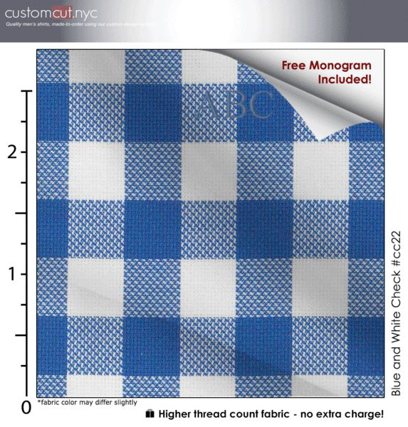 Blue and White Check #cc22, 100% Cotton, Men's Monogrammed Custom Tailored Dress Shirt
