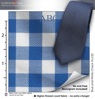 Tie Set, Blue and White Check #cc22, Men's Custom Dress Shirt.